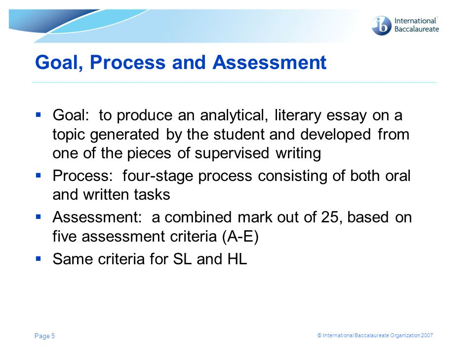 Goal, Process and Assessment