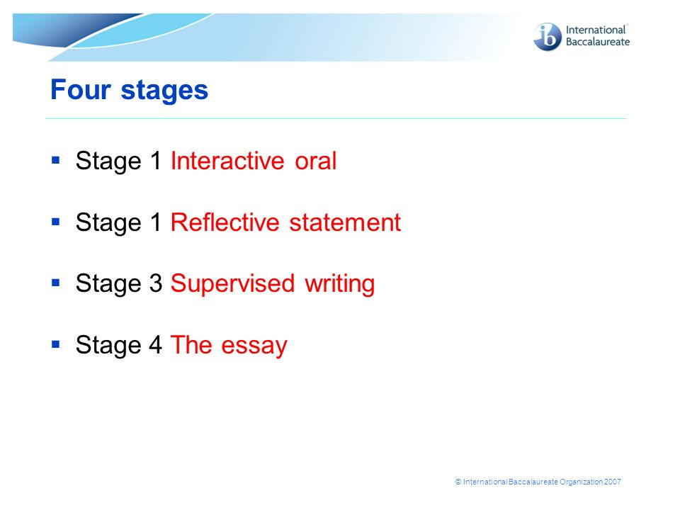 Four stages Stage 1 Interactive oral Stage 1 Reflective statement