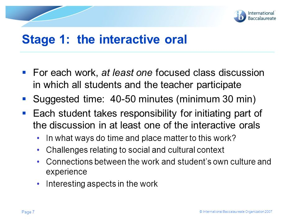 Stage 1: the interactive oral