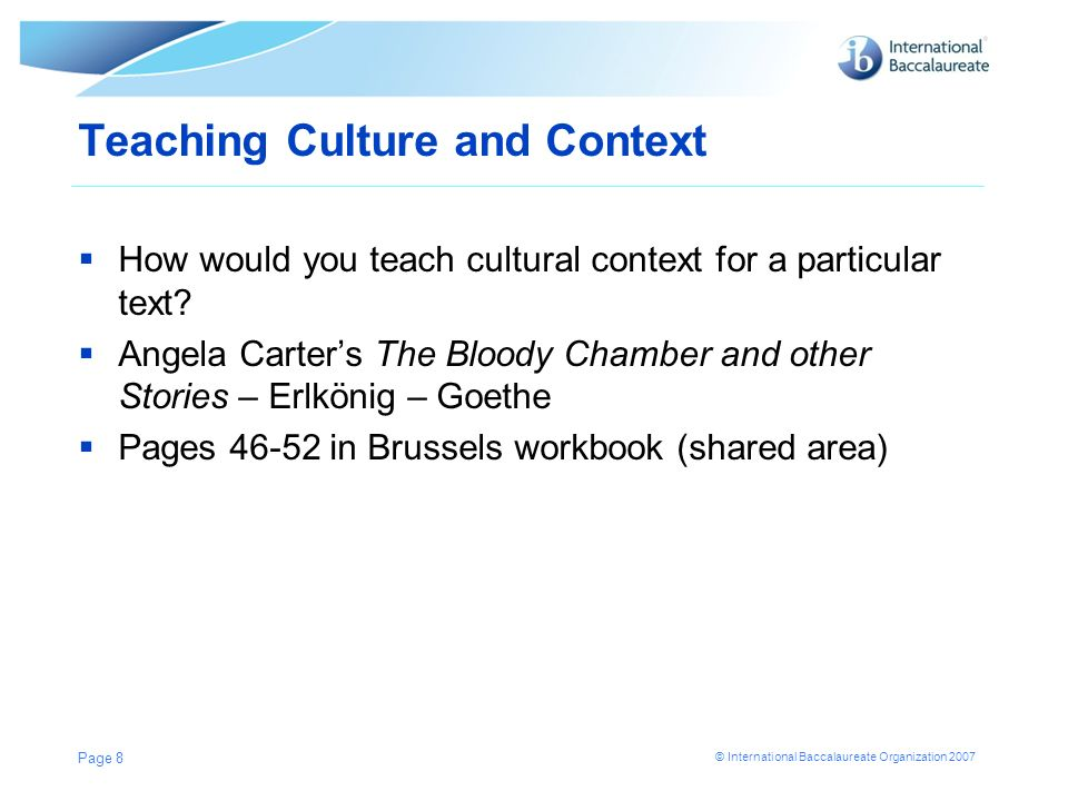 Teaching Culture and Context