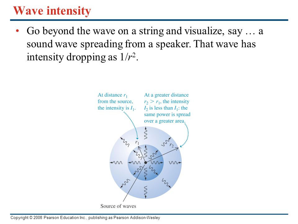 Wave intensity Go beyond the wave on a string and visualize, say … a sound wave spreading from a speaker.