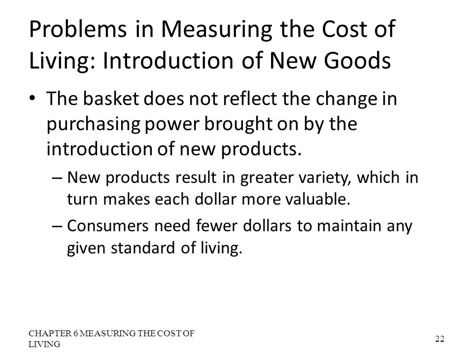 Problems in Measuring the Cost of Living: Introduction of New Goods