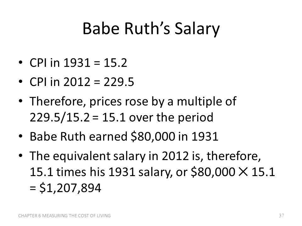 Babe Ruth's Salary CPI in 1931 = 15.2 CPI in 2012 = 229.5