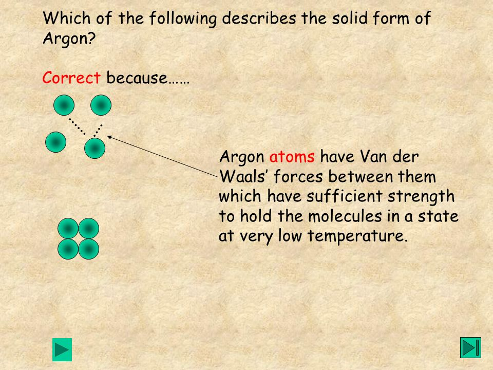 Which of the following describes the solid form of Argon