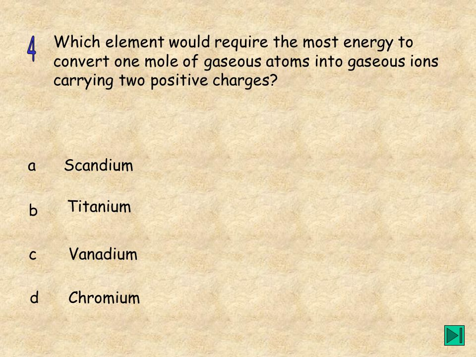 Which element would require the most energy to convert one mole of gaseous atoms into gaseous ions carrying two positive charges