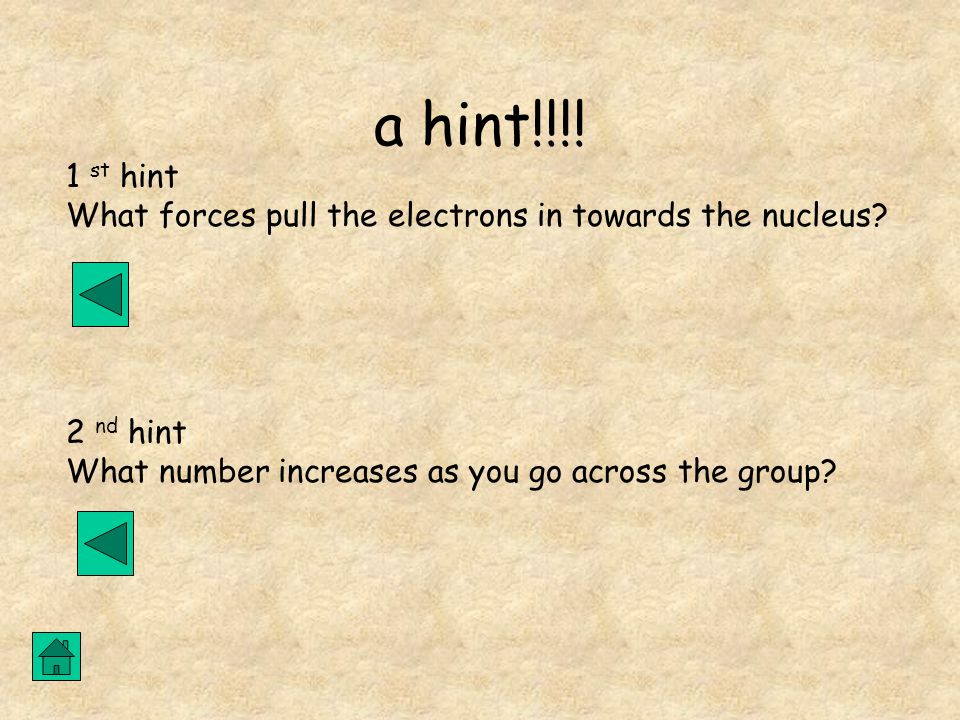 a hint!!!!1 st hint.What forces pull the electrons in towards the nucleus.