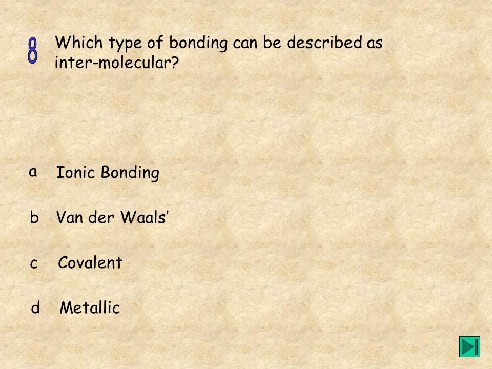 8 Which type of bonding can be described as inter-molecular a