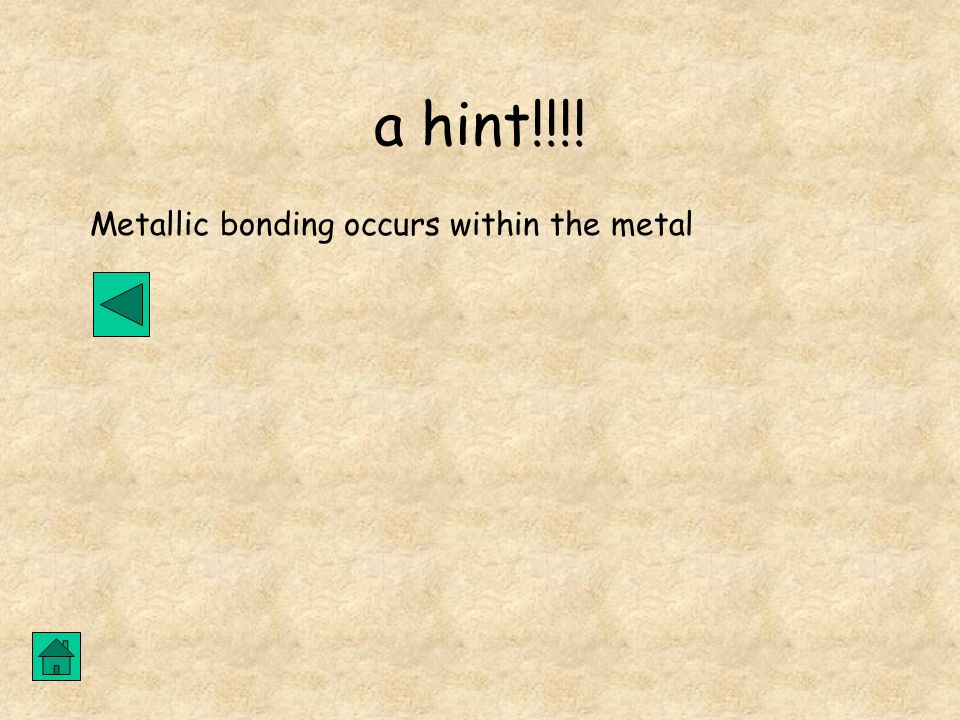 a hint!!!! Metallic bonding occurs within the metal