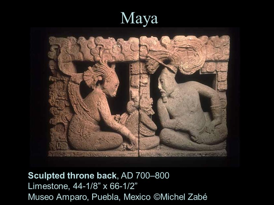 Maya Sculpted throne back, AD 700–800 Limestone, 44-1/8 x 66-1/2