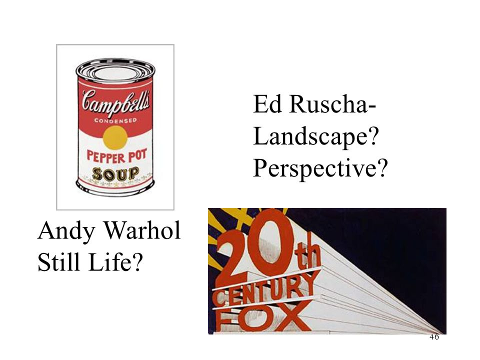 Ed Ruscha- Landscape Perspective Andy Warhol Still Life