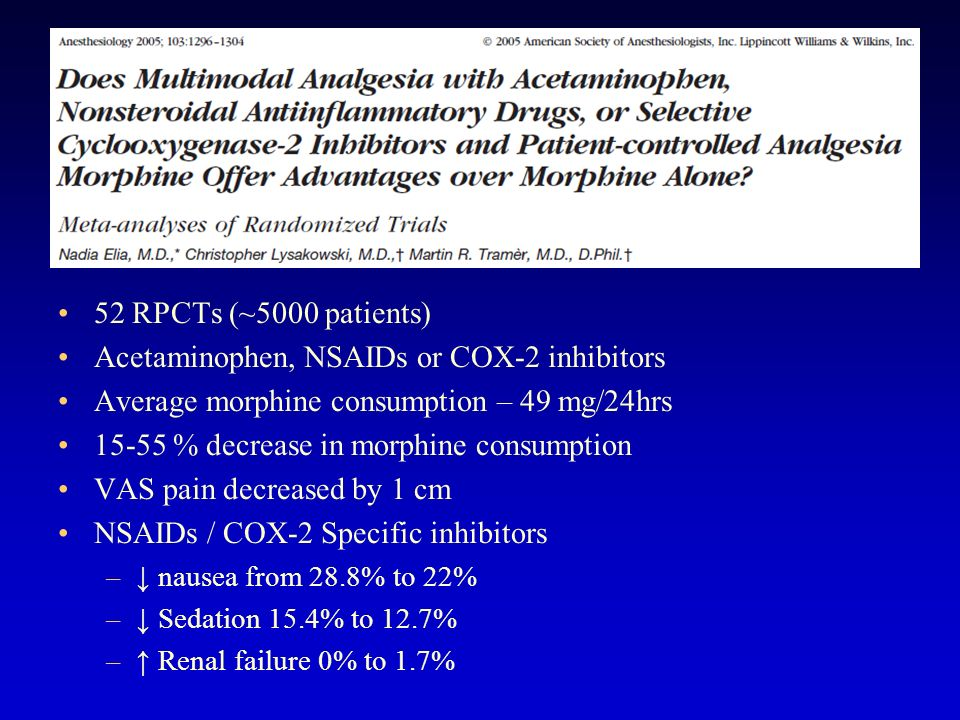 Acetaminophen, NSAIDs or COX-2 inhibitors