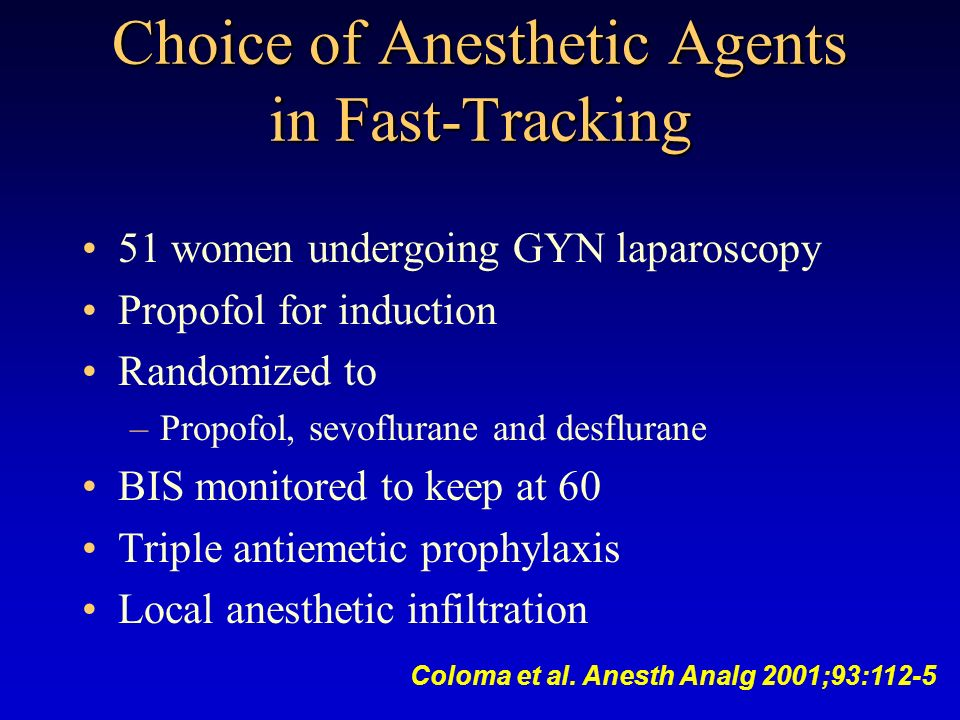 Choice of Anesthetic Agents in Fast-Tracking