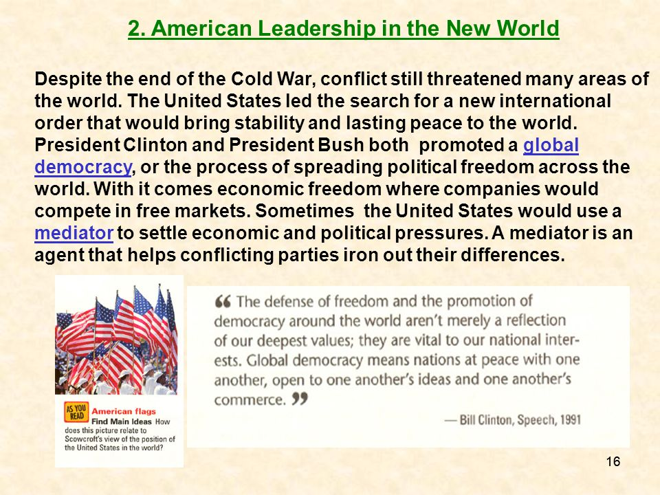 2. American Leadership in the New World