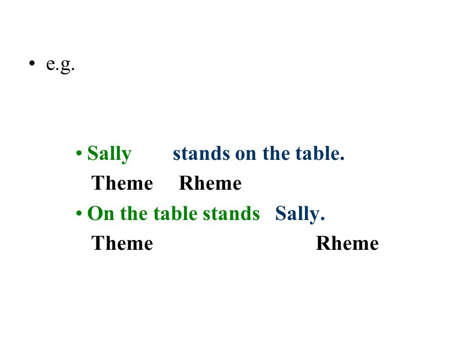 e.g. Sally stands on the table. Theme Rheme.