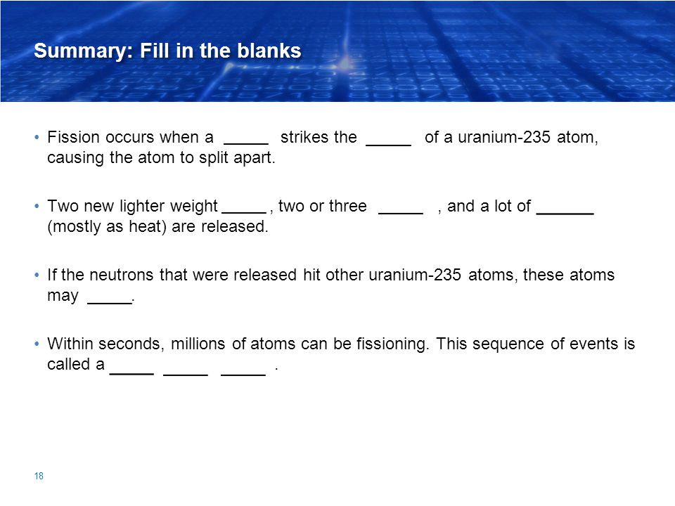 Summary: Fill in the blanks