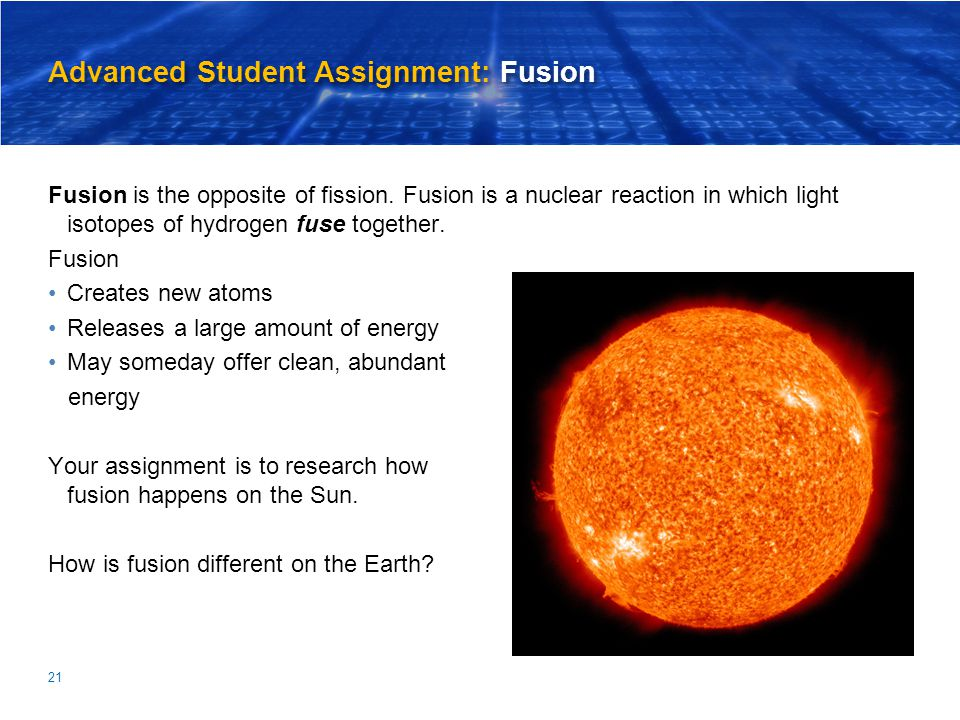 Advanced Student Assignment: Fusion