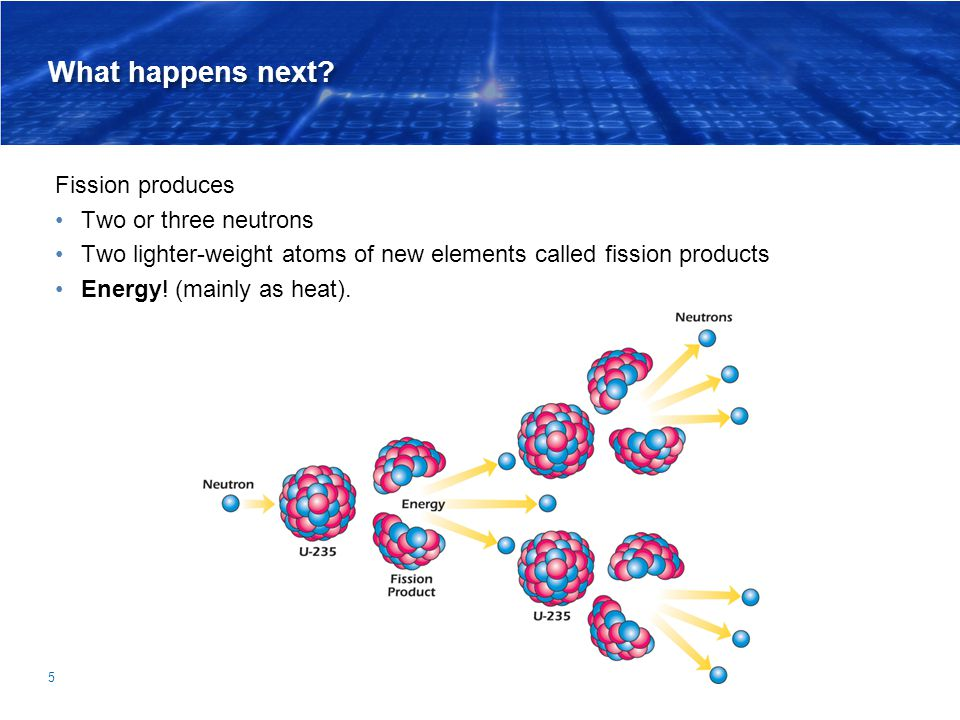 What happens next Fission produces Two or three neutrons