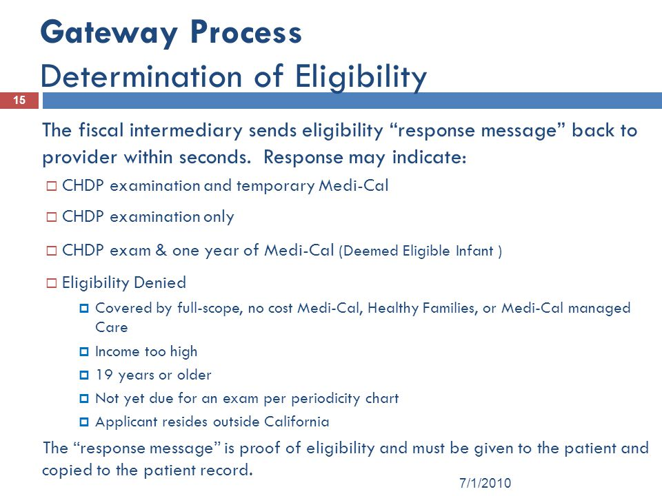 Gateway Process Determination of Eligibility