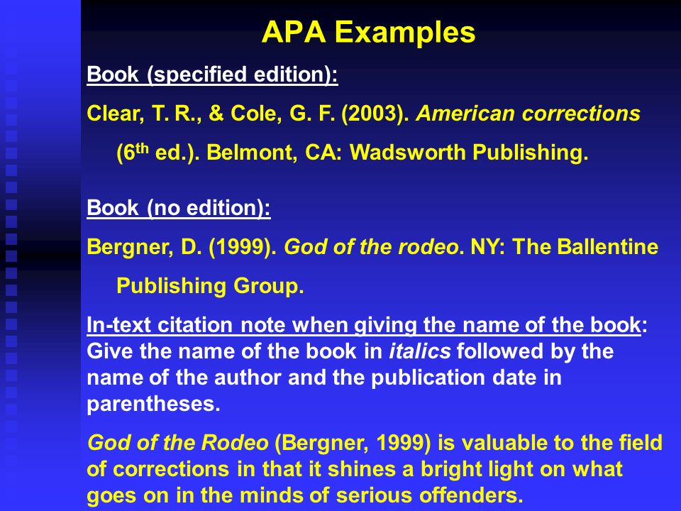 APA Examples Book (specified edition):