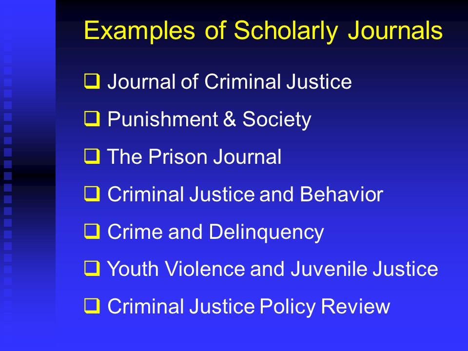Examples of Scholarly Journals
