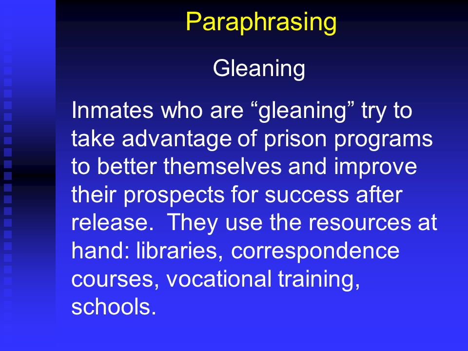 Paraphrasing Gleaning