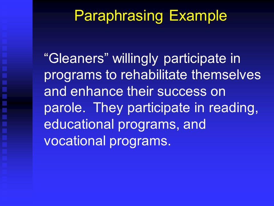 Paraphrasing Example