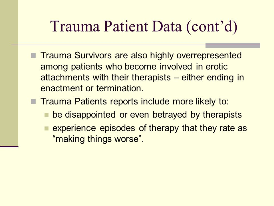 Trauma Patient Data (cont'd)