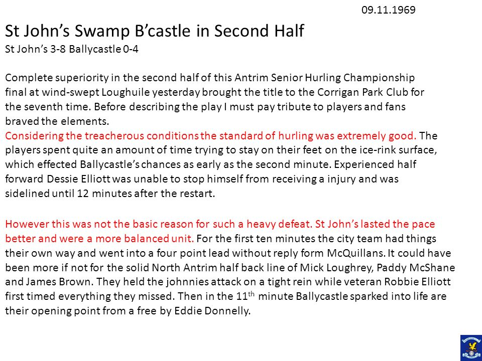 St John's Swamp B'castle in Second Half