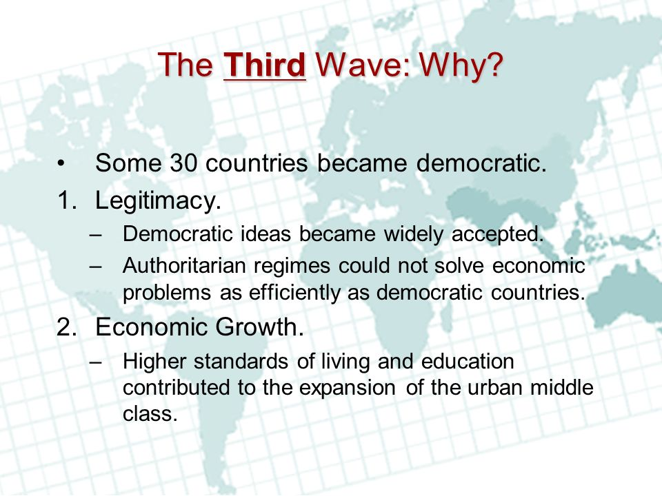 The Third Wave: Why Some 30 countries became democratic. Legitimacy.