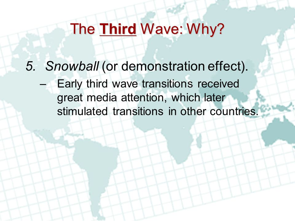 The Third Wave: Why Snowball (or demonstration effect).