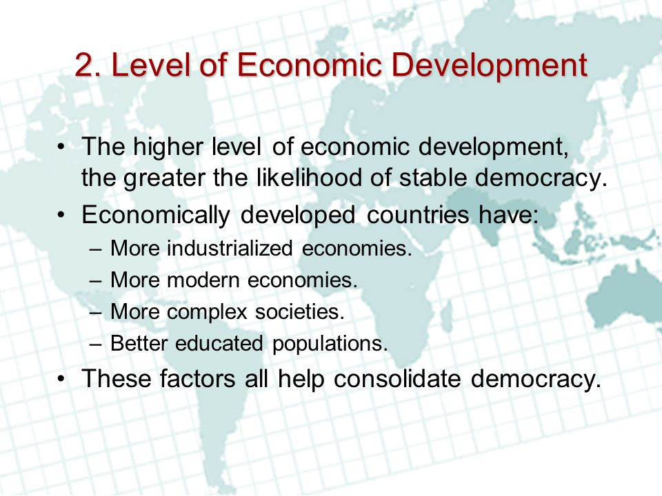 2. Level of Economic Development