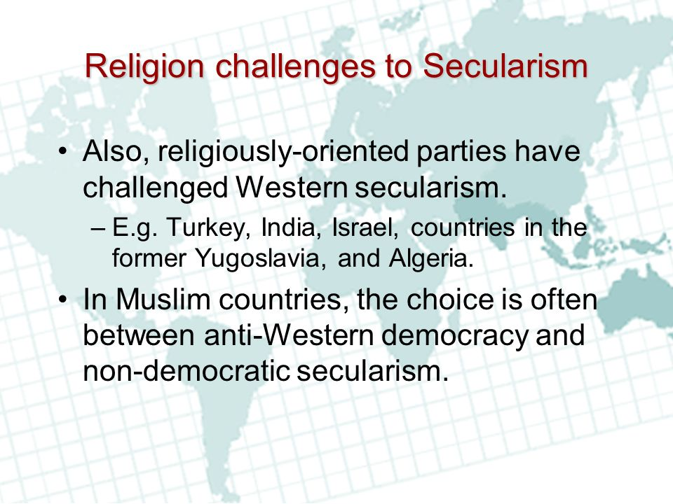 Religion challenges to Secularism