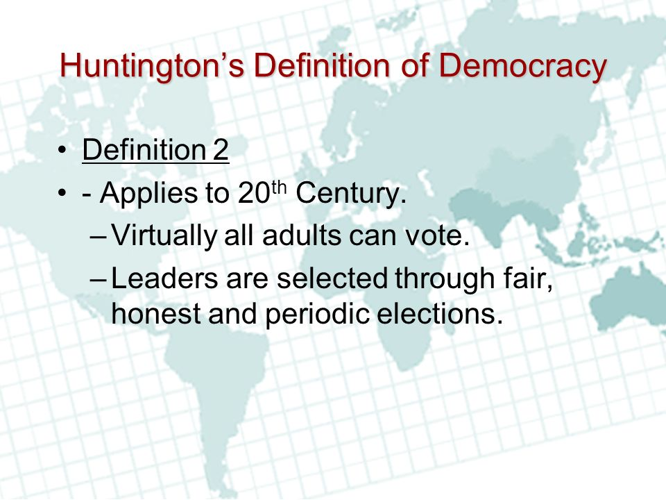 Huntington's Definition of Democracy