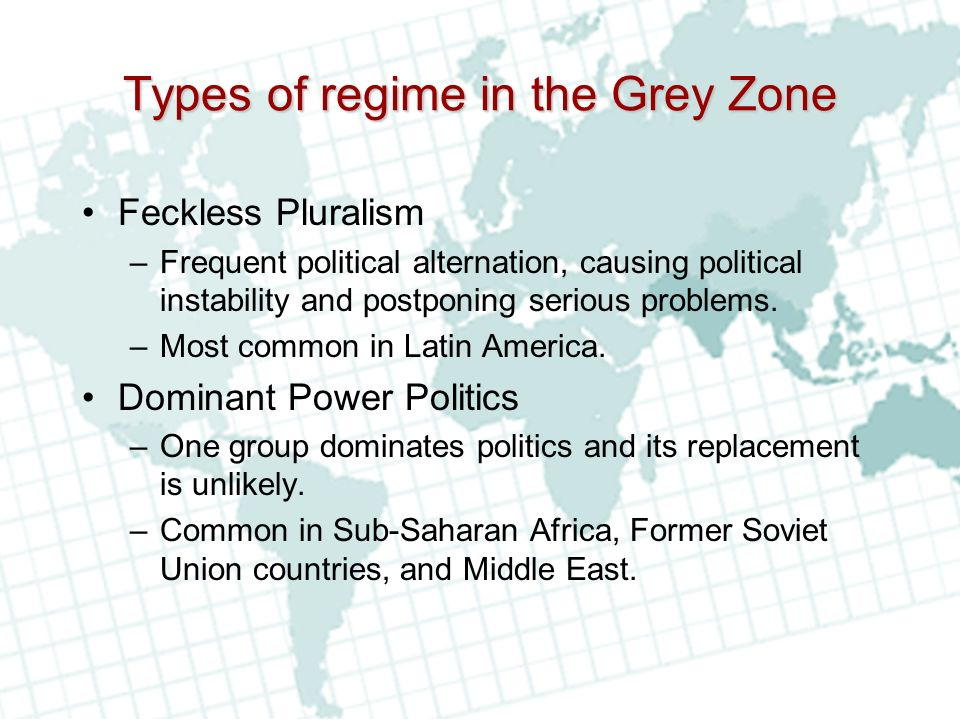 Types of regime in the Grey Zone
