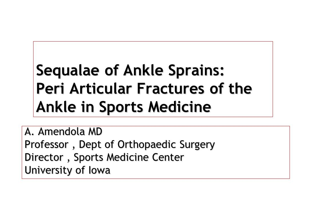 Sequalae of Ankle Sprains: Peri Articular Fractures of the Ankle in Sports Medicine