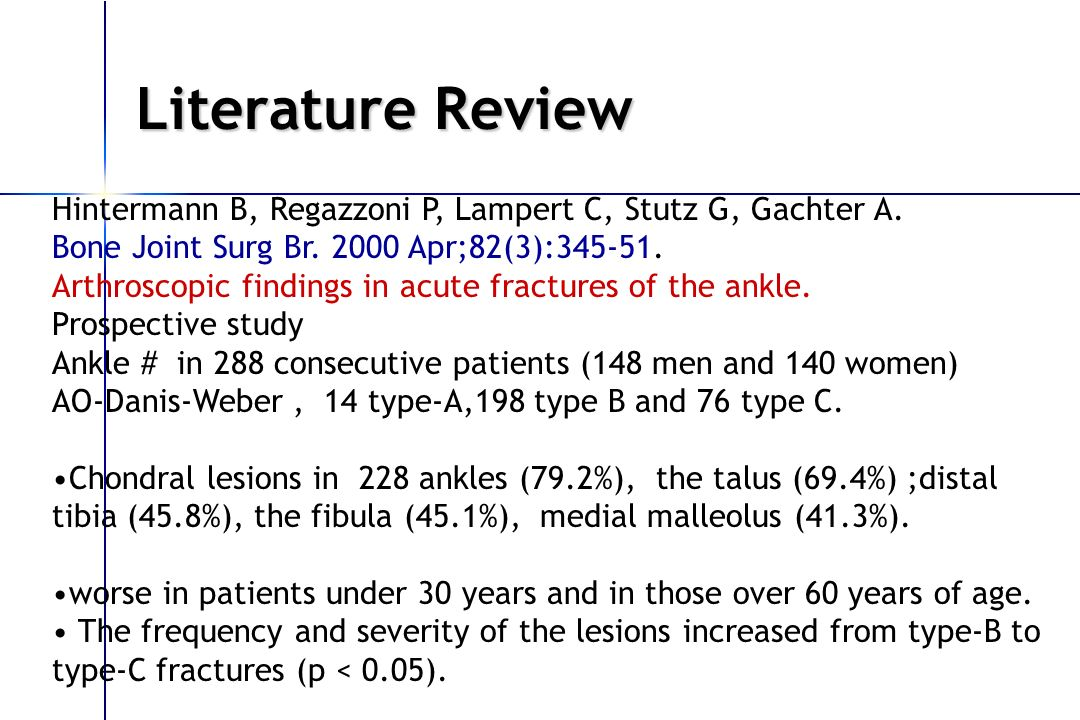 Literature Review Hintermann B, Regazzoni P, Lampert C, Stutz G, Gachter A. Bone Joint Surg Br. 2000 Apr;82(3):345-51.