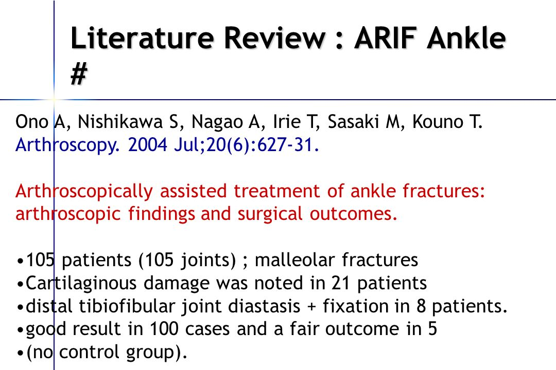 Literature Review : ARIF Ankle #