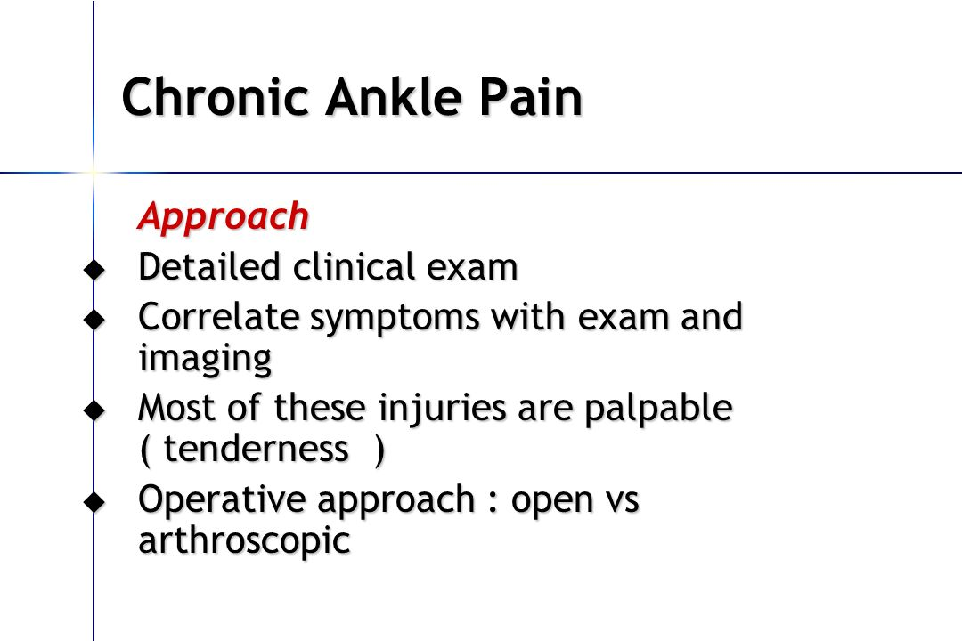 Chronic Ankle Pain Approach Detailed clinical exam