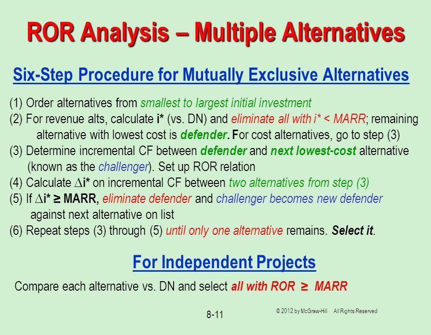 ROR Analysis – Multiple Alternatives