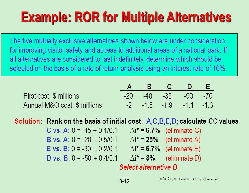 Example: ROR for Multiple Alternatives