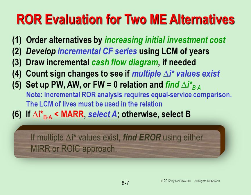 ROR Evaluation for Two ME Alternatives