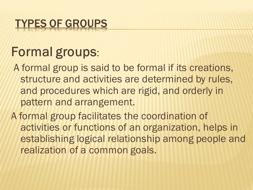 Formal groups: Types of Groups