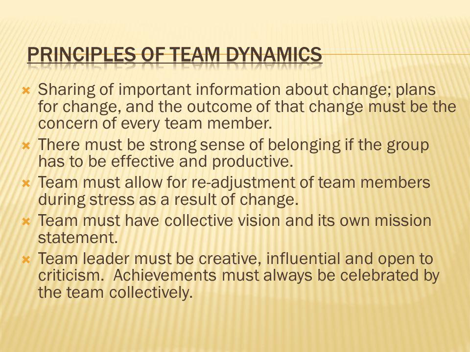 Principles of Team Dynamics