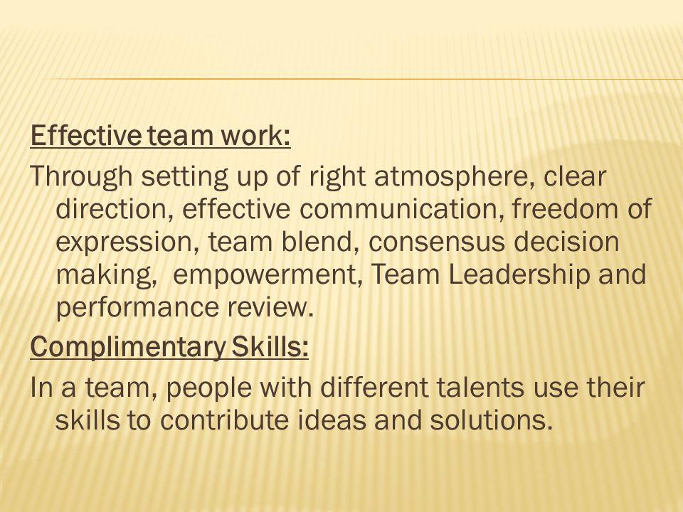 Effective team work: