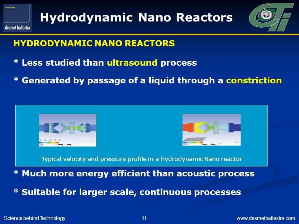 Typical velocity and pressure profile in a hydrodynamic Nano reactor