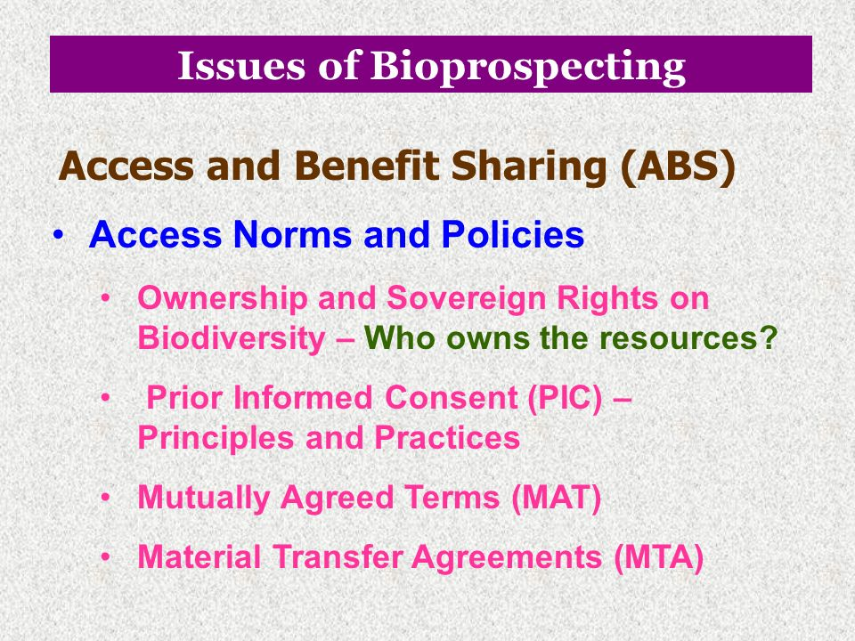 Issues of Bioprospecting