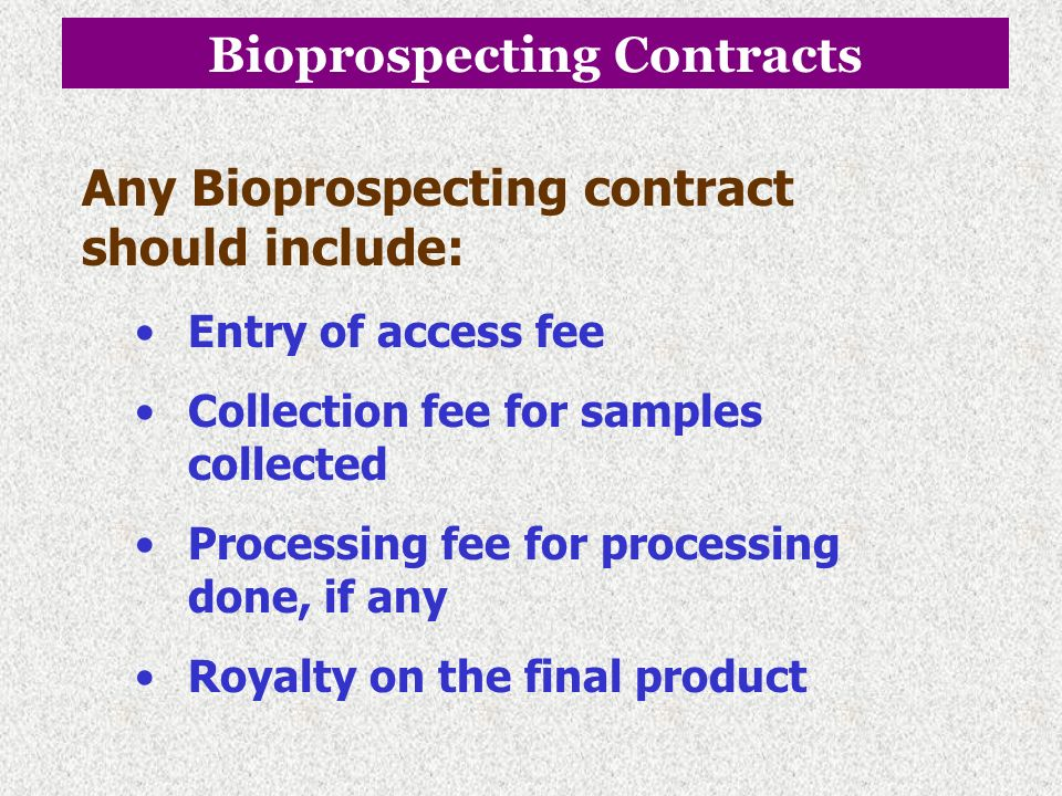 Bioprospecting Contracts