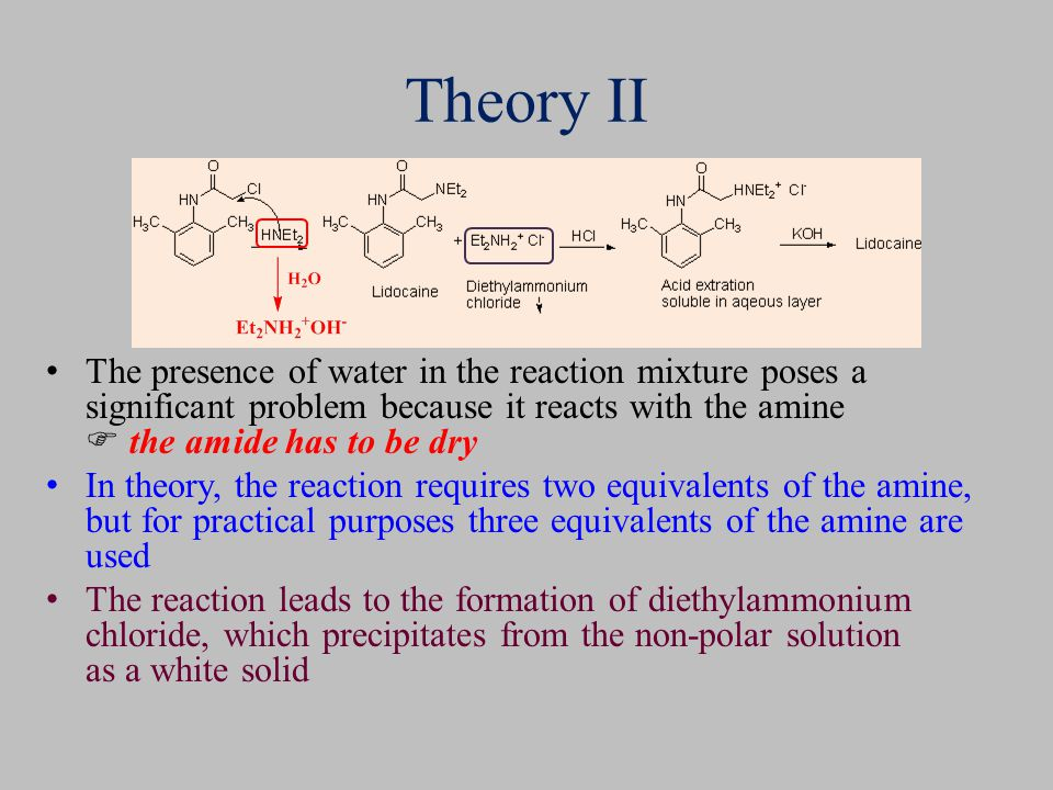Theory II The presence of water in the reaction mixture poses a significant problem because it reacts with the amine  the amide has to be dry.