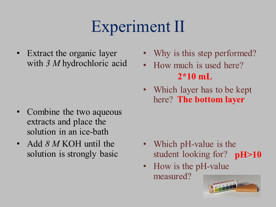 Experiment II Extract the organic layer with 3 M hydrochloric acid