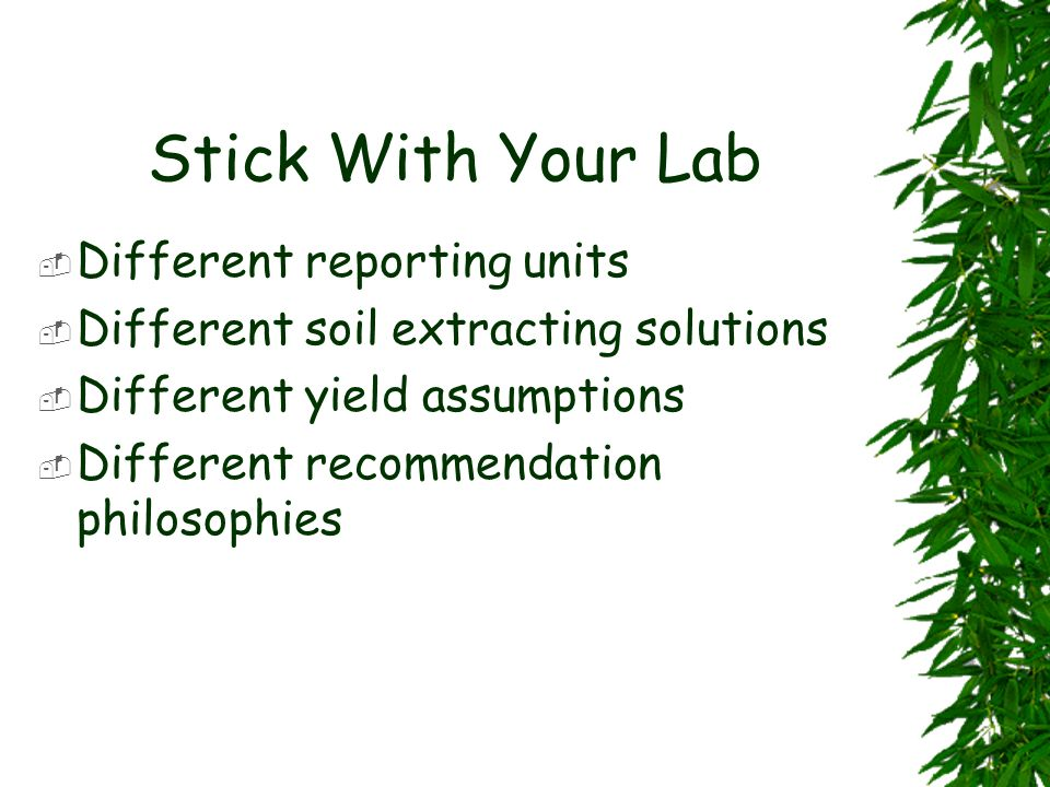 Stick With Your Lab Different reporting units
